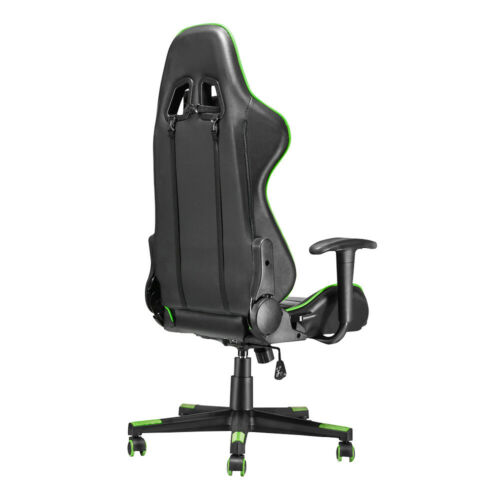 Leather Gaming Racing Chair Office Executive Recliner w// Footrest Neck Pillow UK