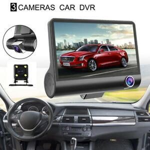 1X-4-pulgadas-HD-1080P-Tres-lentes-Camara-del-tablero-del-coche-Camara-de-v-5Z9