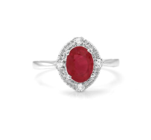 925 Sterling Silver Natural Red Ruby Ring Halo Gemme Taille 4 6 7 8 9 10 11