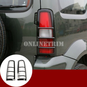 Black-ABS-Rear-Tail-Light-Frame-Trim-Cover-2pcs-For-Suzuki-Jimny-2007-2017