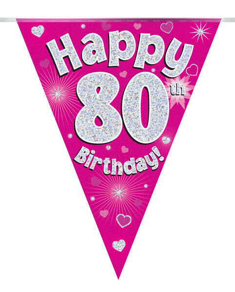 80th BIRTHDAY BANNER PINK FLAG HOLOGRAPHIC PARTY BUNTING 11 FLAGS 3.9m/12.8ft