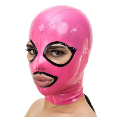 Pink Latex Hood Open Beautiful Eyes and Mouth Back Zipper Rubber Mask Club Wear