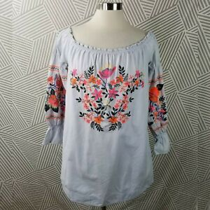 Free-People-Embroidered-boho-Hippie-Peasant-Tunic-Top-Blouse-size-Small-puff