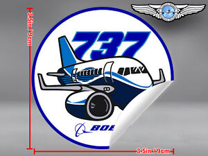 BOEING-737-B737-NG-NEW-GENERATION-PUDGY-STYLE-ROUND-DECAL-STICKER