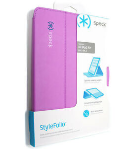 Genuine-Speck-STYLEFolio-ipad-Air-1-2-Case-Stand-Purple-Flip-Shell-Cover-Leather