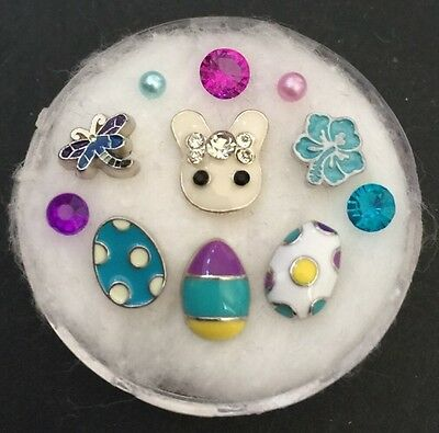Floating Charm Set~*~Easter Bunny Egg Hunt Spring Flowers Rabbit~*~Living Locket