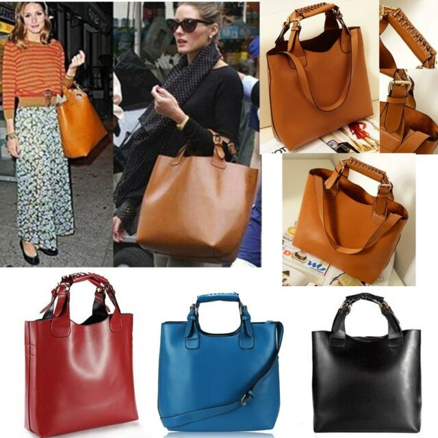 Ladies Designer Celebrity Shoulder Bag Vintage PU Leather Hobo Tote Shopper Bag