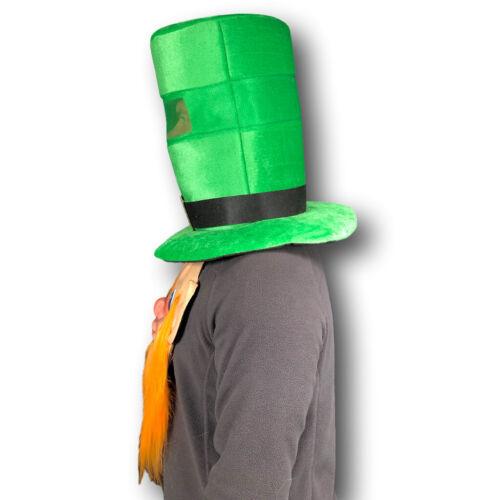 St Patricks Day Green Top Hat Beard Ireland Shamrock Rugby Leprechaun Costume