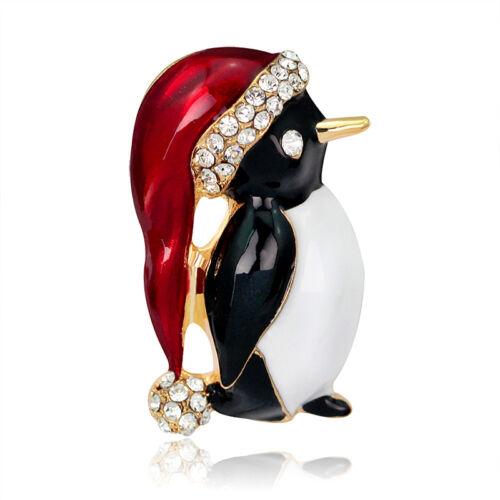 Mignon Strass Pingouin Broche Pin belle Cadeau Fête Décoration