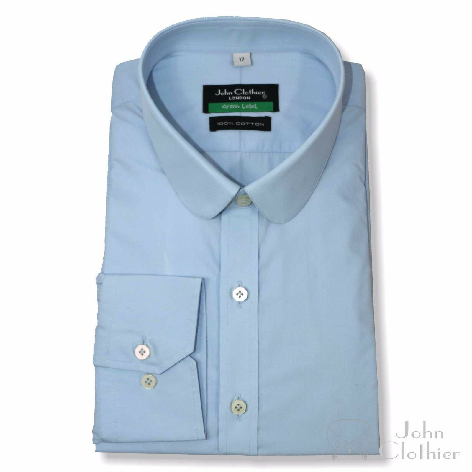 Sky Blau shirts  Herren Penny collar Cotton Savile Row Round Club collar Wear Gents