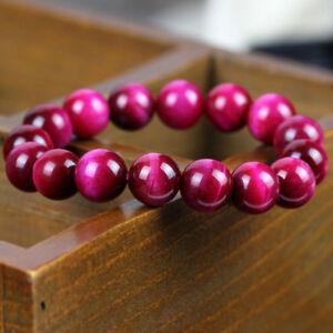 Natural-Rose-Red-Tigers-Eye-Gemstone-Stone-Beads-Women-Stretchy-Bracelet-Bangle