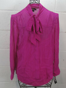 New-DKNY-Magenta-Raspberry-Sheer-Long-Sleeve-Button-Down-Blouse-Top-L-NWT