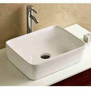 Stylish modern rectangular bathroom cloakroom hand wash for Bathroom wash basin counter designs