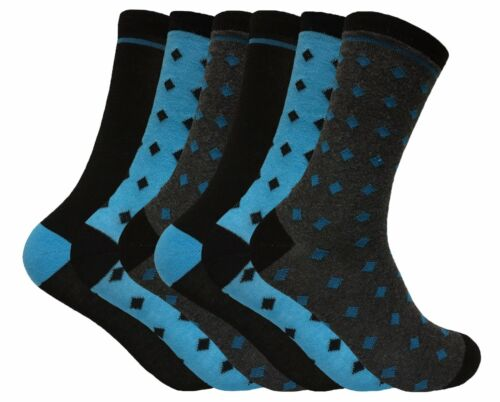 6 Pack Thin Funky Colorful Breathable Patterned Fashion Cotton Dress Crew Socks