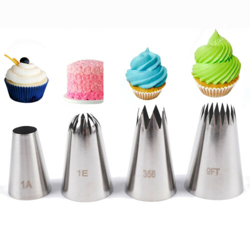4 Pcs  Flower Icing Piping Nozzles Ice Cream Tool  Cake Decorating