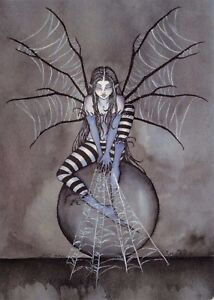 Postcard-Amy-Brown-Gothic-Fairy-ORB-SPINNER-SPIDER-WEB-Art-Print-Collectable