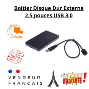Boitier Disque Dur Externe Noir USB 3.0  2.5 pouces pour SATA HDD et SSD