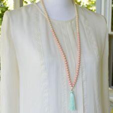 White & Blush Beaded Necklace W/ Mint Silk Tassel
