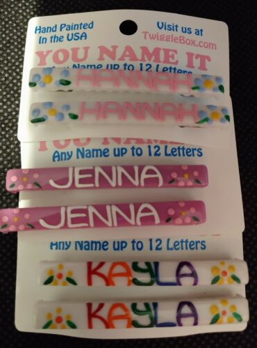 Hand Painted Personalized Plastic Barrettes-You Name It MultiColored PatternNEW