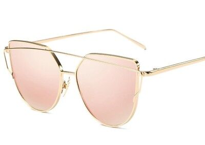 Trending Oversized Cat Eye Sunglasses Metal Frame Flat Mirror Lens Women Fashion