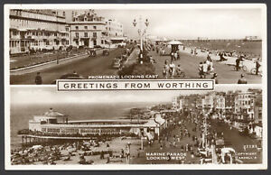 Worthing-Oeste-Sussex-Promenade-Aspecto-Oriental-amp-Marina-Parade-1955-Real-PC