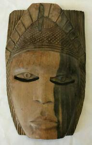 Vintage-AFRICAN-MASK-Hand-Carved-Wood-Tribal-Folk-Art