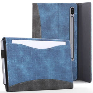 Samsung-Galaxy-Tab-S6-10-5-Case-Cover-Stand-with-Document-Pocket-Blue-Stylus