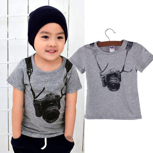Cute Summer Children Boy Kids Cool Camera Short Sleeve Tops T Shirt Tees Clothes