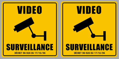 2 X VIDEO SURVEILLANCE CAMERA PROTECTION 9cm AUTOCOLLANT STICKER VA093