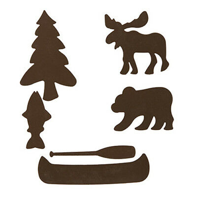 Rustic Metal Cabin theme shapes 6 piece set can glue or tack in your project