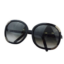 Authentic CHLOE Logos Sunglasses Eye Wear Plastic Metal Black France 07S748