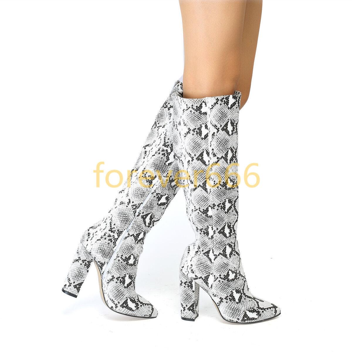 NEUE Kneehohe Stiefel Blockabsatz Klassisch Stiefel High Heel Spitz zehe Schuhe    | Die erste Reihe von umfassenden Spezifikationen für Kunden