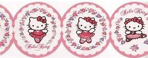 Wallpaper-Border-Pink-and-White-Hello-Kitty-Die-Cut-Oval-Ballet-Ballerina-Poses