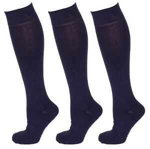 4b9902ff90843 3 Pairs Men Cotton Rich Long Knee High Plain Navy Blue Socks ...