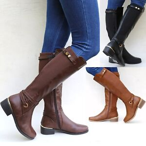 f8098e928bb26 New Women TRB Brown Black Buckle Riding Knee High Cowboy Boots 6 to ...