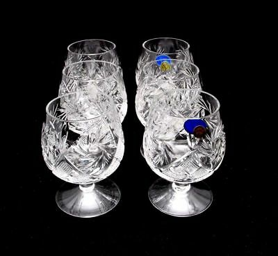 Russian European hand made cut crystal glasses Brandy,Whisky,Cognac-Set of 6
