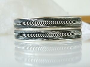 Vintage-Solid-Chunky-Sterling-Silver-925-Cable-Mens-Womens-Cuff-Bracelet-8-034