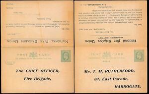 GB KE7 STATIONERY REPLY CARD FIRE BRIGADES UNION YORKSHIRE SCARBOROUGH 1907 DEMO