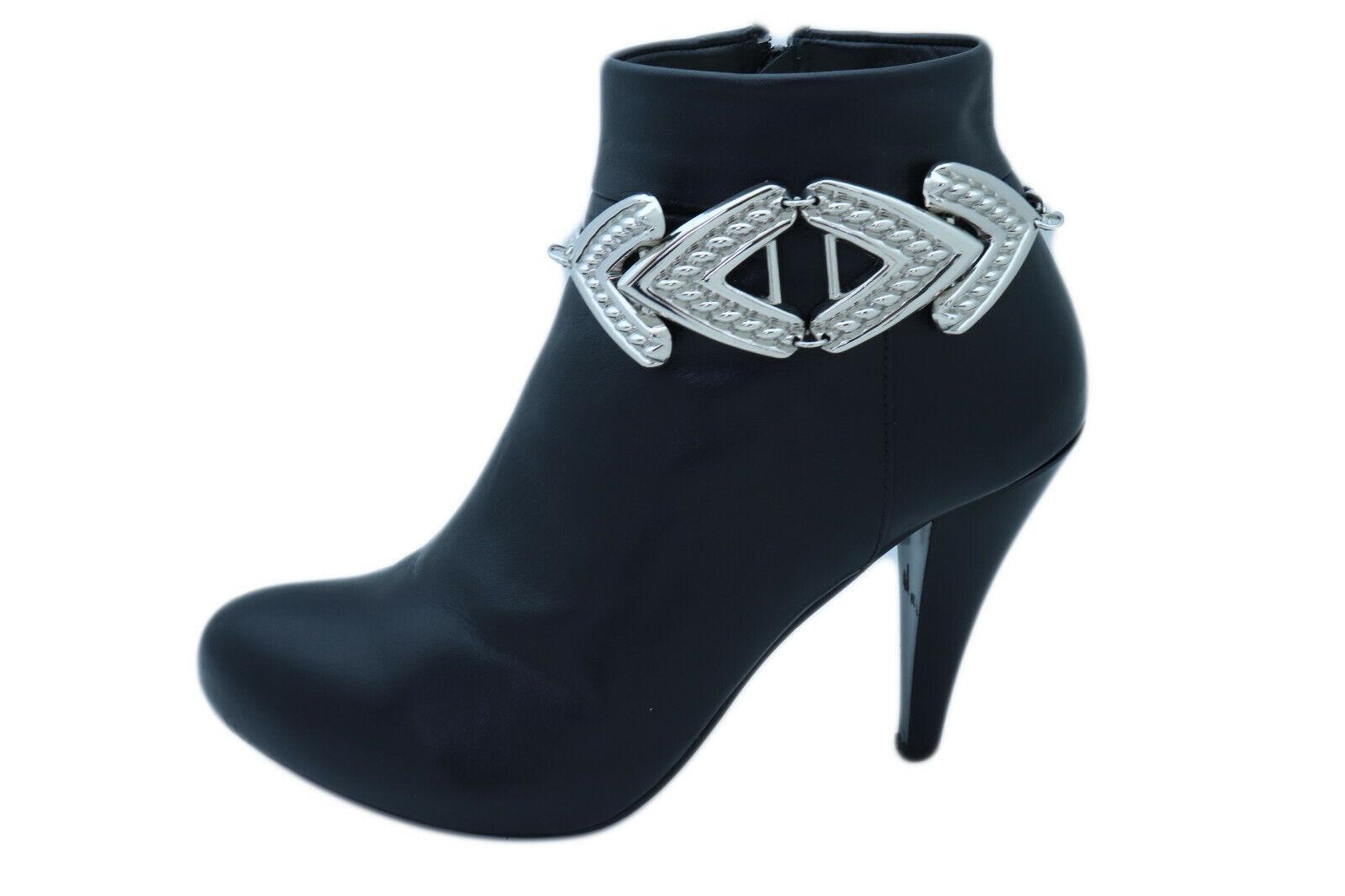 Women Silver Metal Chain Boot Bracelet Anklet Shoe Arrow Wide Band Charm Jewelry