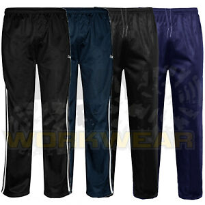 Mens-Silky-Jogging-Bottoms-Striped-Joggers-Gym-Sports-Tracksuit-Pants-Trousers