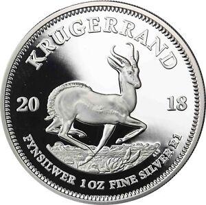 Krügerrand 2018 Silber Südafrika 1 Rand Polierte Platte im Etui mit Zertifikat