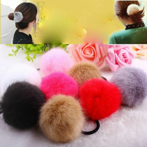 Accessories Hair Bands Ponytail Elastic Hair Rope Ring Fake Fur Ball Headwear