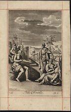 Jobs Friends Devil depicted 1690 Blome F. Van Hove antique engraving