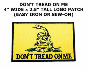 DON/'T TREAD ON ME GADSDEN FLAG PATCH AMERICAN BLACK EMBROIDERED IRON-ON SUBDUED