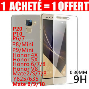 Lot2-Vitre-Film-Protection-Verre-Trempe-Huawei-P20-P8-9-10-Honor-Mate-Y6-7-Smart