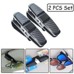 2PCS-Car-Sun-Visor-Glasses-Clip-Carbon-Fibre-Sunglasses-Cards-Holder