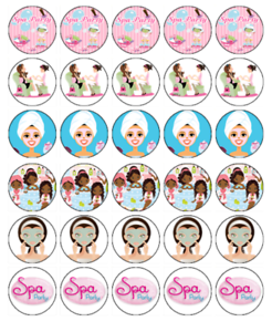 30 SPA PARTY Edible Cupcake Toppers Wafer Paper Birthday Cake Decorations #1