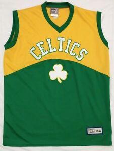 on sale 6eda8 d3e6a Details about Celtics Green & Yellow Stitched Basketball Jersey Majestic  Hardwood Classics XL