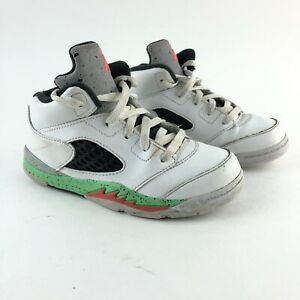 new style a9ac3 0dc88 Details about AIR JORDAN 5 RETRO WHITE BLACK RED GREEN SHOES SIZE 10c