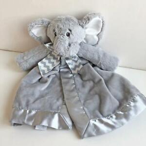 Bearington-Baby-Elephant-Security-Blanket-Minky-Plush-Lovey-Gray-Satin-14-034-Soft